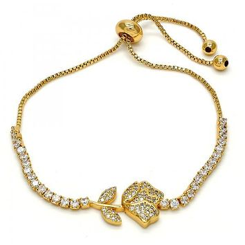 Gold Layered 03.155.0019.10 Fancy Bracelet, Flower and Leaf Design, with White Crystal and White Micro Pave, Polished Finish, Gold Tone