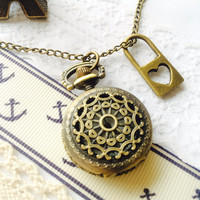 Steampunk Pocket Watch locket necklace with lock charm -small size, filigree watch case