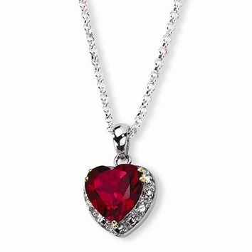 Sterling Silver & Crimson Red Topaz & Diamond Necklace