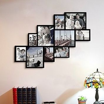 """Adeco Decorative Black Wood Wall Hanging Picture Photo Frame Collage, 10 Openings, Clustered, Various Sizes 4-8x10"""", 5-5x7"""", one-4x6"""", Rectangular"""