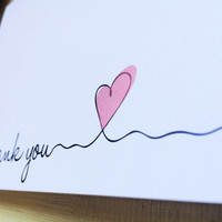 Cursive Thank You Card; Pink Heart; Blank Everyday Card