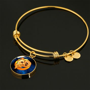 Zodiac Sign Aries - 18k Gold Finished Bangle Bracelet
