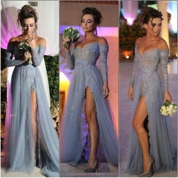 2016 New Fashion Long Sleeves Prom Dress Party Evening Dress A Line Off Shoulder High Slit Grey Lace Tulle Prom Dresses