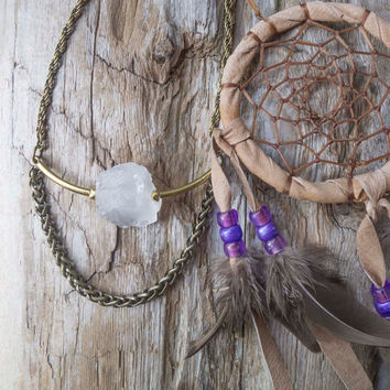 "Rough quartz necklace, long boho necklace, indie jewelry, raw, mineral specimen, rocks and minerals, made in canada, boho chic, ""Unearthed"""