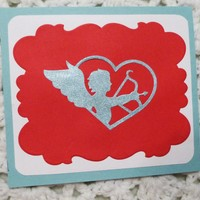 Blue Cupid Red  Love Card, 5.25
