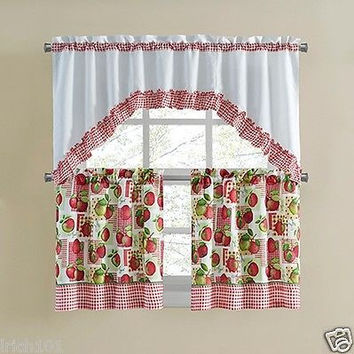 "Country Apple Orchard 3 Piece Kitchen Curtain Set With 36""L Swag and 36""L Tiers"