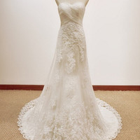 A-line Strapless Court Train satin And Lace Wedding Dress