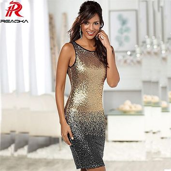 Reaqka Sexy 2018 Gradient Color Summer Sequin Dress Women Sleeveless Backless Bodycon Patchwork Club Sheath Midi Party Dresses