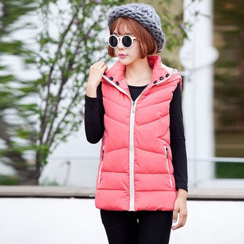 Hoodied Women Down Vest Sleeveless Winter Coat Cotton-padded = 1782939460