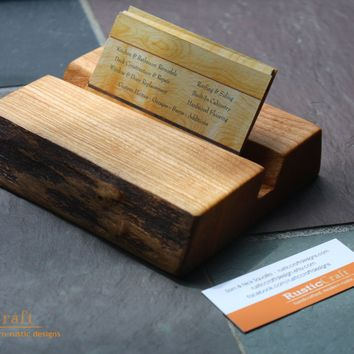 Business Card Holder Rustic Live Edge Wood Unique Office Gif