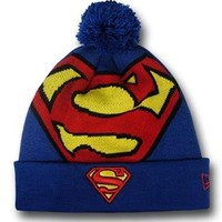 Superman Big Symbol Pom Pom Beanie