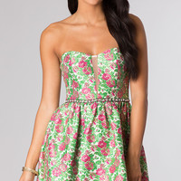 Short Strapless Floral Print Dress