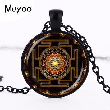 Steampunk Sri yantra mandala Glass Dome Pendant Necklace DIY Handmade Fashion Buddhist Sacred Geometry Jewelry Charm Trendy HZ1