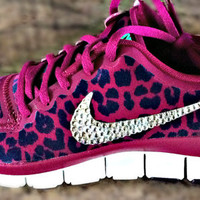 Nike Free 5.0 v4 with Swarovski crystal details Pink/Purple cheetah