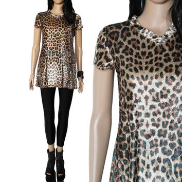 90s Velvet Animal Print Shirt Long Tunic Style Club Kid Raver Hipster Clothing Made in the USA Women's Size Small
