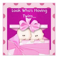 PINK  TWINS BABY SHOWER  INVITATION from Zazzle.com