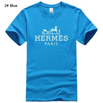 Hermes Summer New Fashion Bust Letter Horse Print Women Men Leisure Top T-Shirt 2# Blue