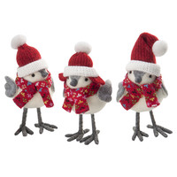 October Hill Robin Sisters 3 Piece Bird Set in Red