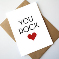 You Rock Card Love Card Mother's Day Card Father's Day Card Happy Mother's Day Happy Father's Day Red Heart
