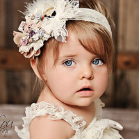 CAMEO COUTURE Pastel Ivory Rosette Lace Headband Photography Prop