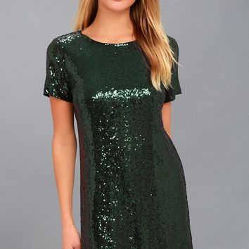Party Hour Dark Green Sequin Short Sleeve Dress