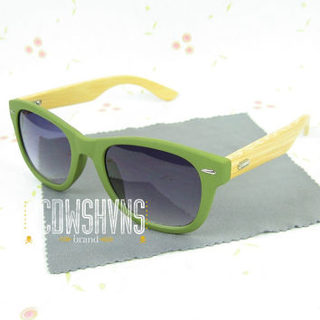 Wooden Sunglasses | Green Wood Sunglasses - Bamboo Wood Sunglasses - Wood Eyewear Wayfarers | Hand Made from Recycled Wood