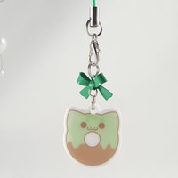 Pokemon, Bulbasaur, donut, food, dessert, phone charm, cute, kawaii, anime, zipper charm, keychain, acrylic charm, green
