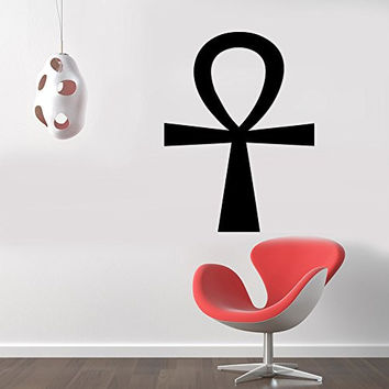 Ankh Pagan Egyptian Eternal Symbol Removable Wall Sticker Art Home Office Room Mural Decor Vehicle Car Truck Window Bumper Graphic Decal- (12 inch) / (30 cm) Tall MATTE BLACK Color