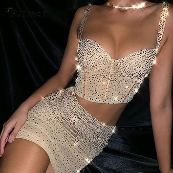 Fuedage Summer Sequin  Gold Two Piece Set Sparkle Glitter Tank Bodycon 2 Piece Set Women Backless Club Party Women Set