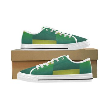 Men's Green Block Seattle Oxford Cloth Athletic Shoes