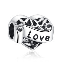 """Love"" Heart Openwork Charms"