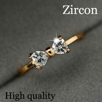 Gold Plated 18K Noble Bow Crystal Ring Hot Fashion Design Love Romance Jewelry Wedding Engagement