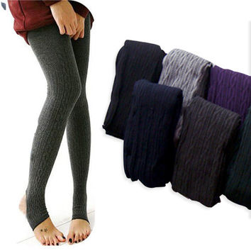 Comfortable Women's Cotton Tights Pants Stirrup Leggings Winter Warm Knitted Hot