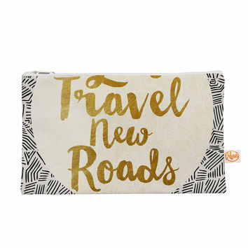 "Pom Graphic Design ""Let's Travel New Roads"" Gold Black Everything Bag"
