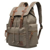 Hynes Eagle Vintage Canvas Leather Backpack Rucksack (Black)