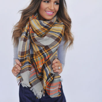 Plaid Blanket Scarf- Mustard/Grey