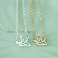 Origami Crane Necklace - 2 colors available (gold and silver) - dainty, cute and lovely pendant jewelry, crane, bird