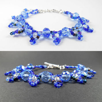 Blue Crystal Bracelet, Glass Crystal Jewelry, Blue Glass Bead Bracelet, Crystal And Seed Bead Jewelry, Mother of Bride Jewelry