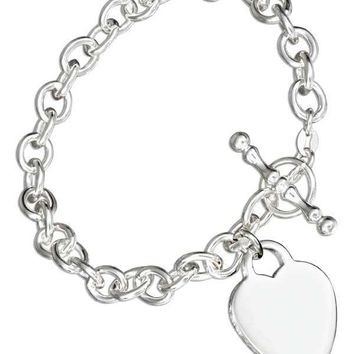 "Sterling Silver Bracelet:  7"" Italian Toggle Bracelet With Heart Charm"