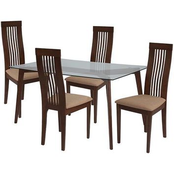 Arcadia 5 Piece Walnut Wood Dining Table Set with Glass Top and Framed Rail Back Design Wood Dining Chairs - Padded Seats