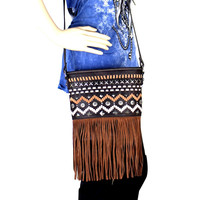 Montana West Fringe Collection Bucket Shaped Crossbody Bag