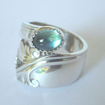 Sterling Silver Spoon Ring Ornate Antique - Sidewinder Spring Glory, with Genuine  BLUE TOPAZ  stone.From size 51/2 to size 10.