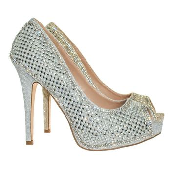 Darling31 by Blossom Rhinestone Crystal Pearl Embelish Peep Toe High Heel Bridal Party Pump