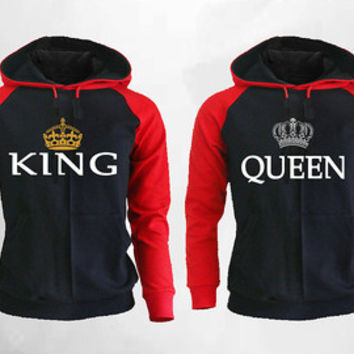 King Queen Hoodies King Queen Raglan Hoodies Extended Hands pärchen pullover Mickey Minnie Couple Hoodies, Couple Sweater Black Red