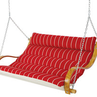 Deluxe Marquis Cushion Double Swing, Red, Outdoor Porch Swings