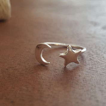 Handmade delicate adjustable ring Moon and Star together Gold plated ring Silver dainty rings