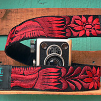 Leather camera strap with traditional Guatemalan embroidery - Paloma (Dove) in red, maroon - PLC1