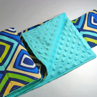 Blue Geometric Travel Diaper Changing Pad
