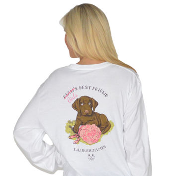 Girl's Best Friend Long Sleeve Tee in White by Lauren James