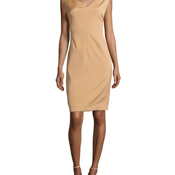 V-Neck Cap-Sleeve Shift Dress, Brass, Size: 36, BRASS - Escada